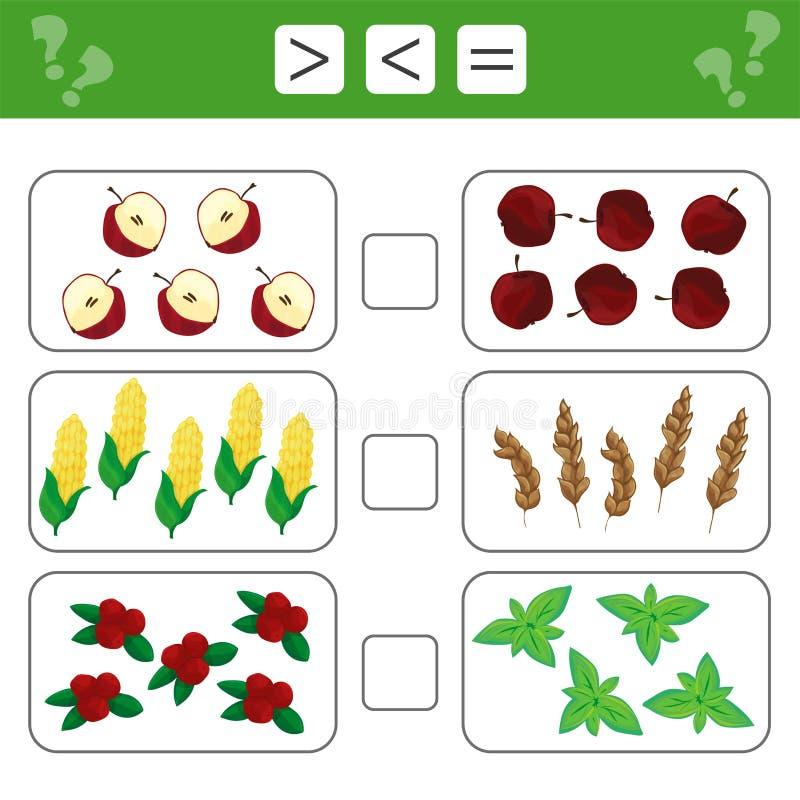 Uczenie mathematics, liczby - wybiera więcej lub równy, mniej Zadania dla dzieci royalty ilustracja