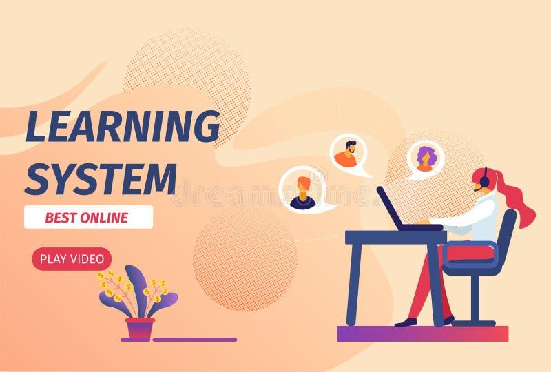 Uczenie systemu Dobrze Online Horyzontalny sztandar ilustracja wektor