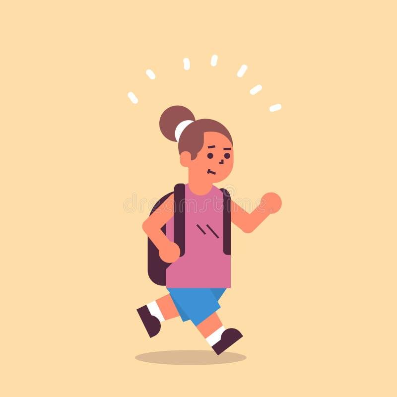 Uczennica z plecakiem wracająca do szkolnej koncepcji edukacyjnej, która dobrze się bawi na całej długości royalty ilustracja