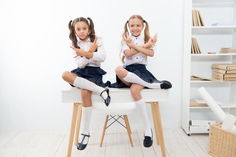 Uczennicy cool ufne twarze z ponytails fryzurą Najlepszych przyjaciół znakomici ucznie siedzą na biurku z chłodno rękami obrazy stock
