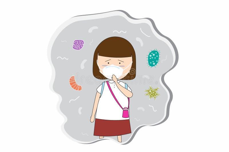 Uczennicy odzież maskuje N95 zapobiegać zanieczyszczenie powietrza w mieście PM 2 5 w py?u metrze Tak jak py?, dymi i w?cha EPS10 ilustracji