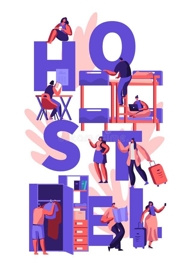 Uczni lub podróżników charakterów schroniska zakwaterowania pojęcie Turystów charakterów ludzie Ruszają się w Taniego motel Zosta ilustracja wektor