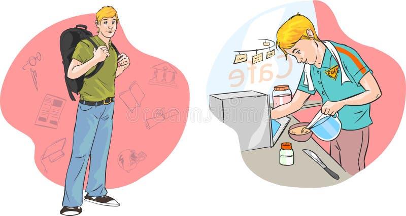 Download Uczni pracować ilustracja wektor. Ilustracja złożonej z notepad - 53792759