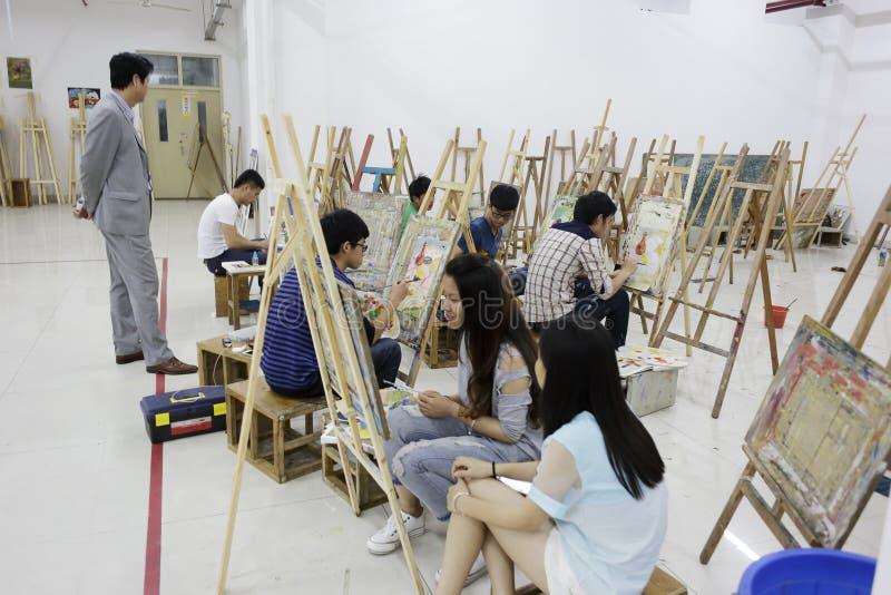 Uczni rysować fotografia stock