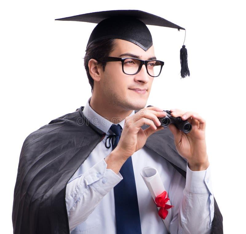Ucznia absolwent odizolowywaj?cy na bia?ym tle obrazy royalty free