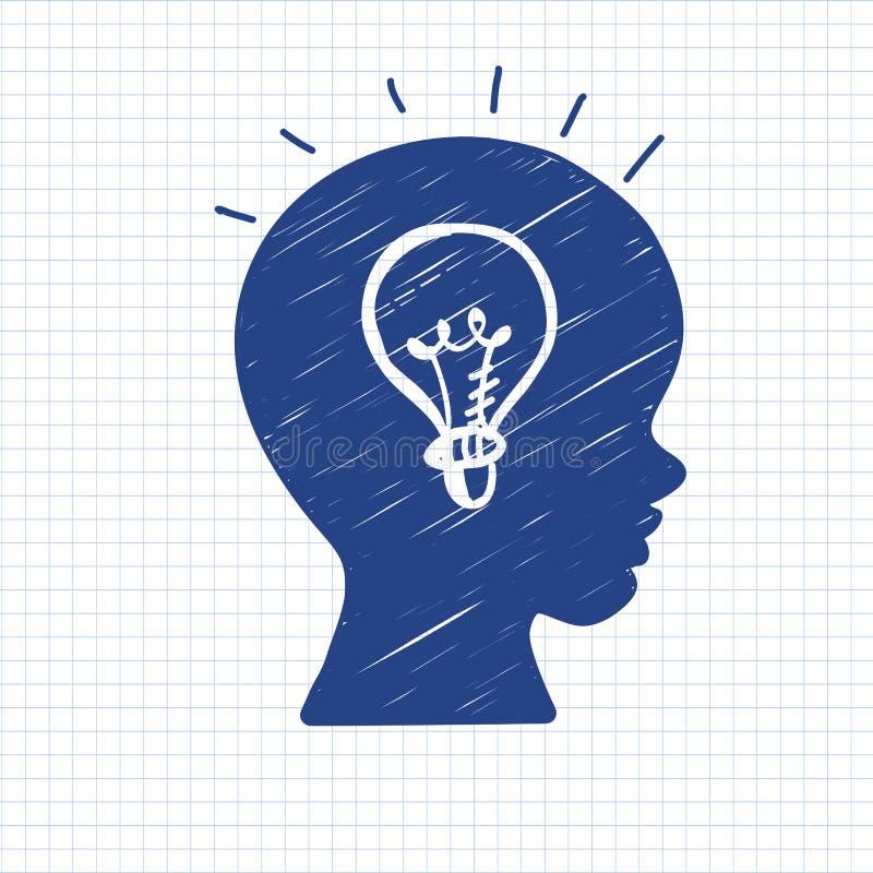 Ucznia profil z lampą ilustracji