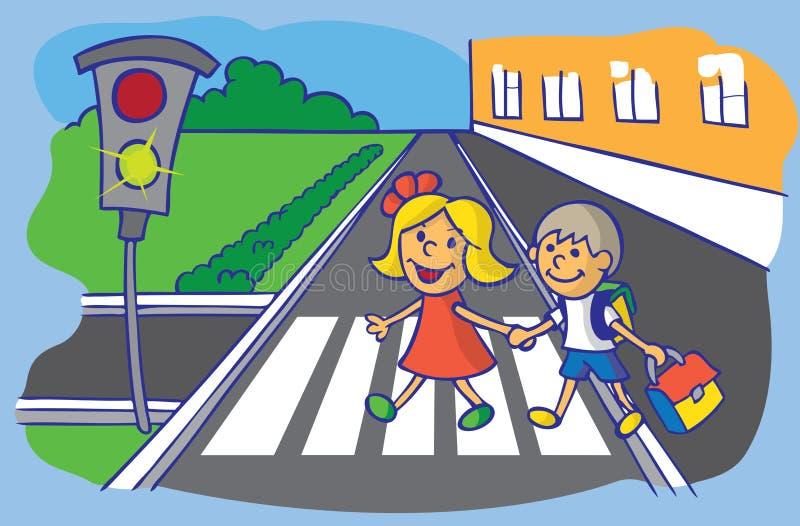 Ucznia skrzyżowanie przy zwyczajnym skrzyżowaniem ilustracja wektor