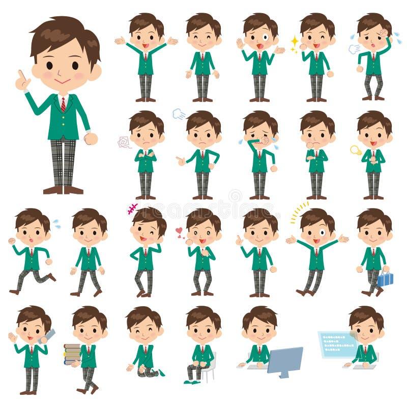 Ucznia Zielony blezer ilustracja wektor
