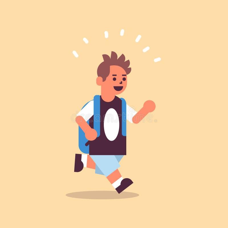 Uczniak z plecakiem wracającym do szkolnego pomysłu edukacyjnego, który dobrze się bawił na całej długości ilustracja wektor