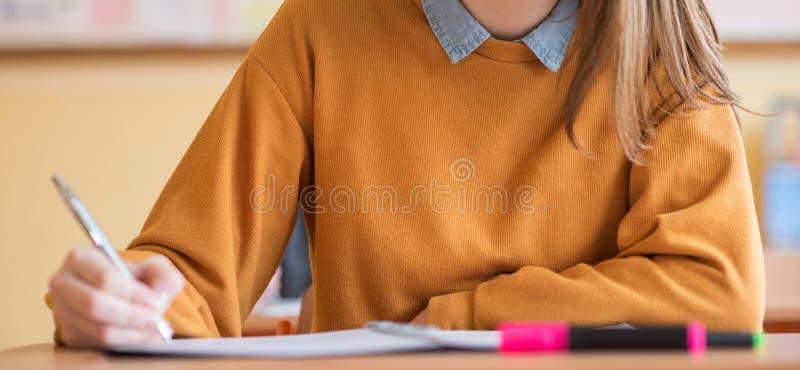 Ucznie bierze egzamin w sala lekcyjnej Edukacja test, egzaminu pojęcie Sieć sztandar zdjęcia stock