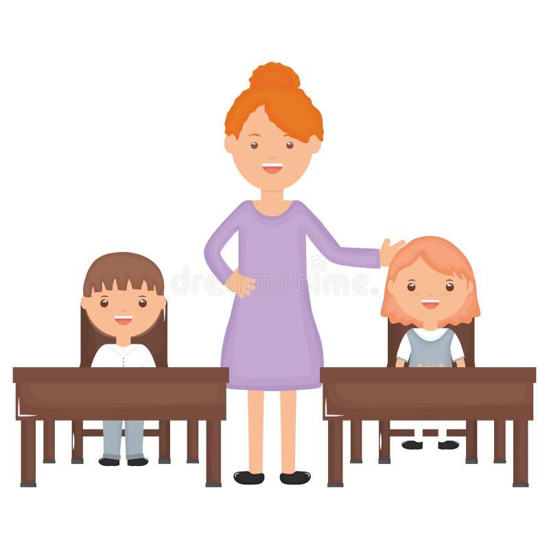 Ucznie dobierają się obsiadanie w schooldesk z żeńskim nauczycielem ilustracja wektor
