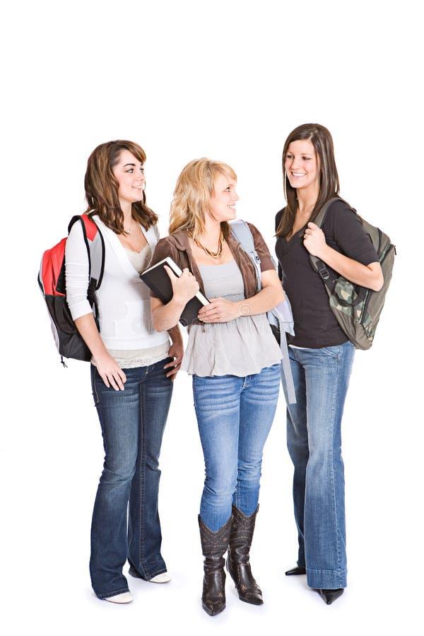 Ucznie: Grupa Nastoletni Studenccy Żeńscy przyjaciele zdjęcia stock