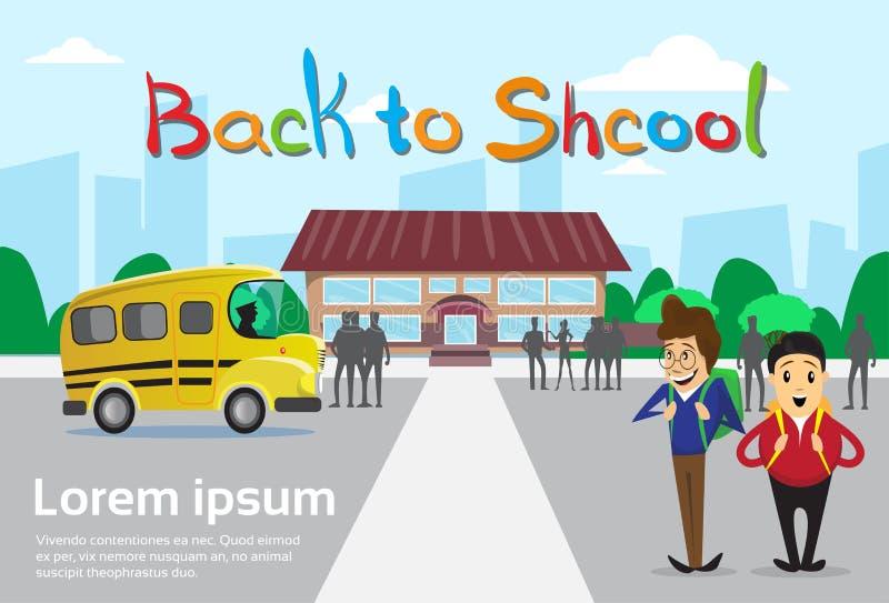 Ucznie Nad Schoolbus budynku szkoły tła edukaci sztandarem ilustracji