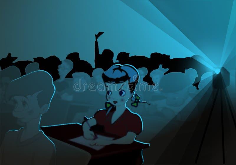 Ucznie ogląda film w klasie royalty ilustracja