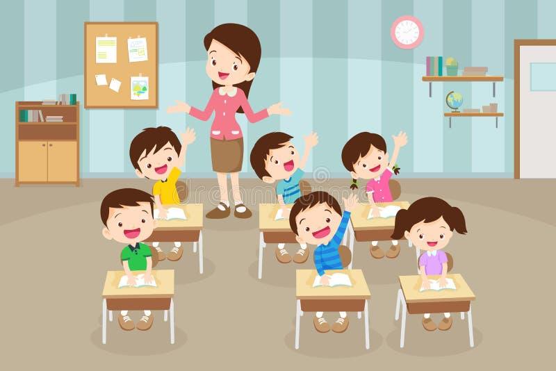 Ucznie podnosi rękę i nauczyciela bierze klasę tylna szko?y royalty ilustracja