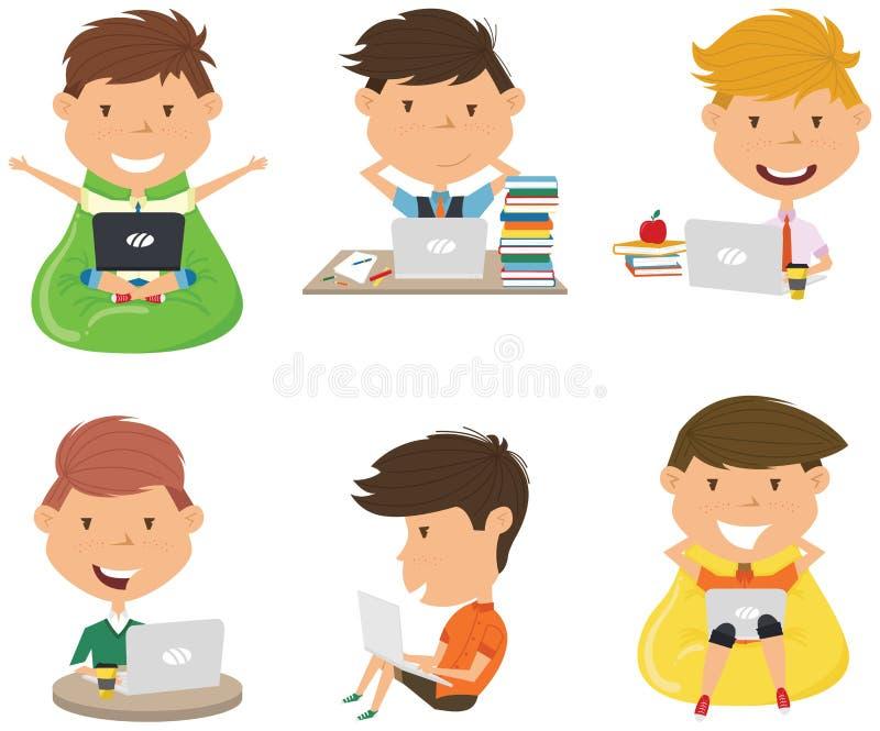 Ucznie uczą się pracę domową i robią komputerem zdjęcie stock