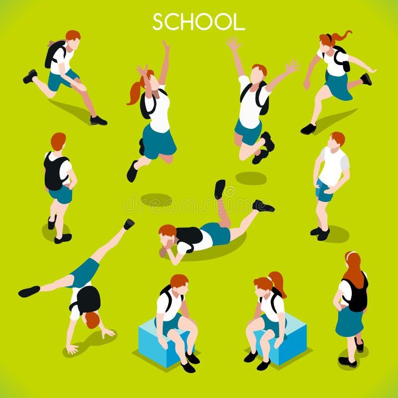 Ucznie Ustawiają 01 ludzie Isometric ilustracji