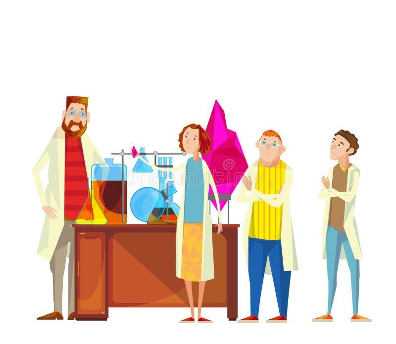 Ucznie W Laboranckim składzie royalty ilustracja