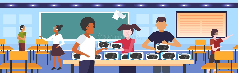 Uczniowie testujący okulary 3d dla nastolatków wyścigowych z technologią cyfrowego gogli w rzeczywistości wirtualnej royalty ilustracja