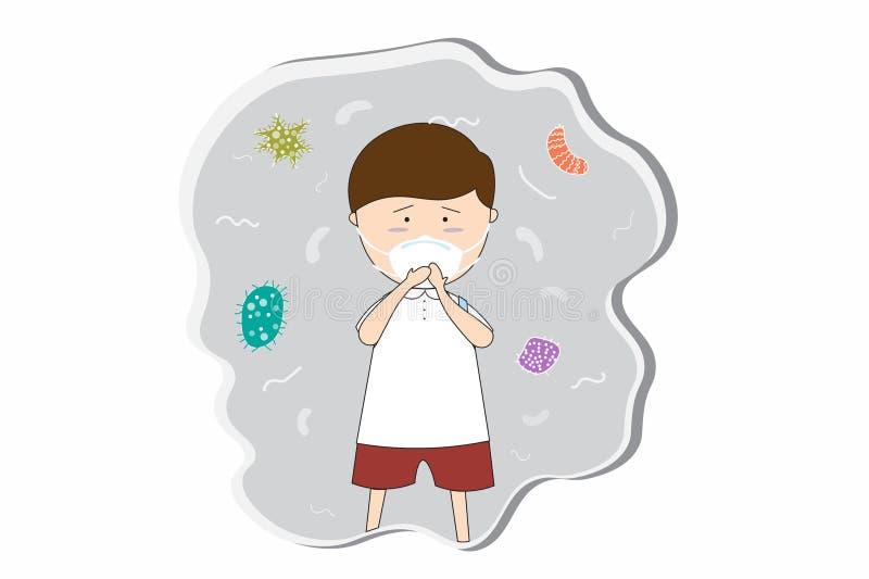 Uczniowska odzież maskuje N95 zapobiegać zanieczyszczenie powietrza w mieście PM 2 5 w py?u metrze Tak jak py?, dymi i w?cha EPS1 royalty ilustracja