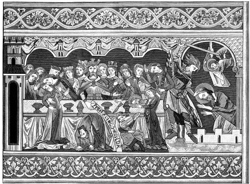 Uczty Herod Druku Woodblock Zdjęcie Editorial