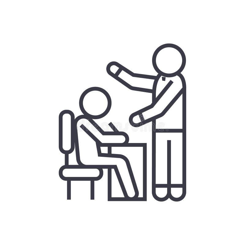 Uczyć procesu, ucznia i nauczyciela liniową ikonę, znak, symbol, wektor na odosobnionym tle ilustracji
