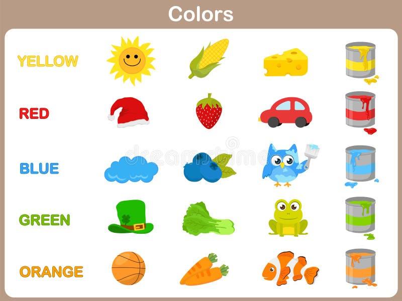 Uczyć się przedmiotów kolory dla dzieciaków royalty ilustracja