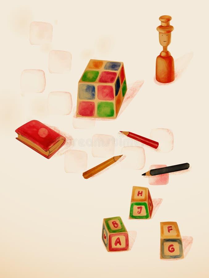 Uczyć się przez sztuki. Edukacyjne zabawki. ilustracji
