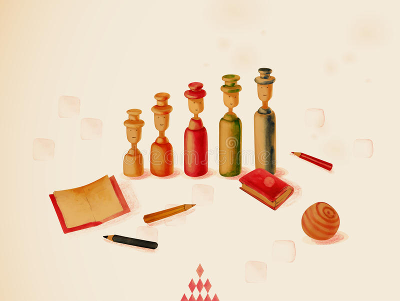 Uczyć się przez sztuki. Zabawki ilustracja wektor