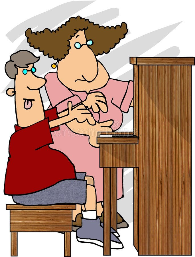 uczy gry na pianinie ilustracji