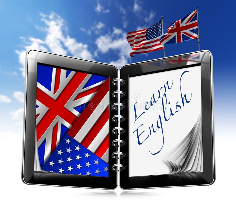Uczy się angielszczyzny - pastylka komputer ilustracji