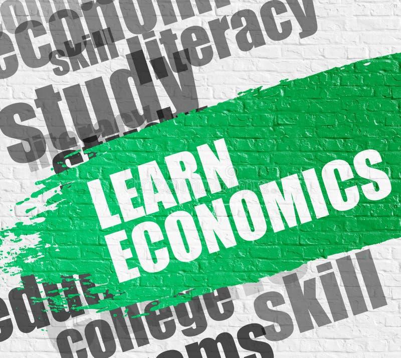 Uczy się ekonomie na Białym ściana z cegieł ilustracja wektor