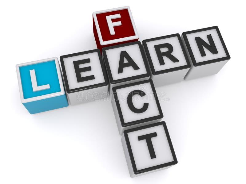 Uczy się fact słowa blok ilustracji