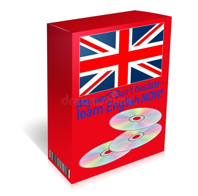 Uczy się języka angielskiego kurs - cd w pudełku royalty ilustracja