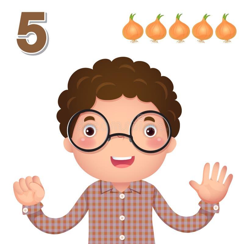 Uczy się liczbę i liczenie z kid's ręką pokazuje liczbę f ilustracja wektor