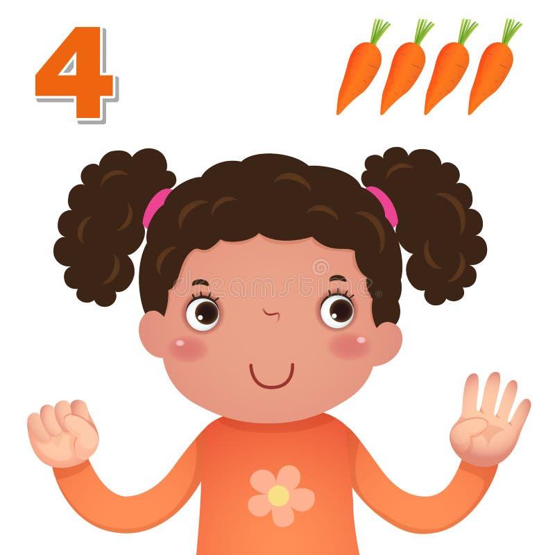 Uczy się liczbę i liczenie z kid's ręką pokazuje numerowi cztery ilustracja wektor