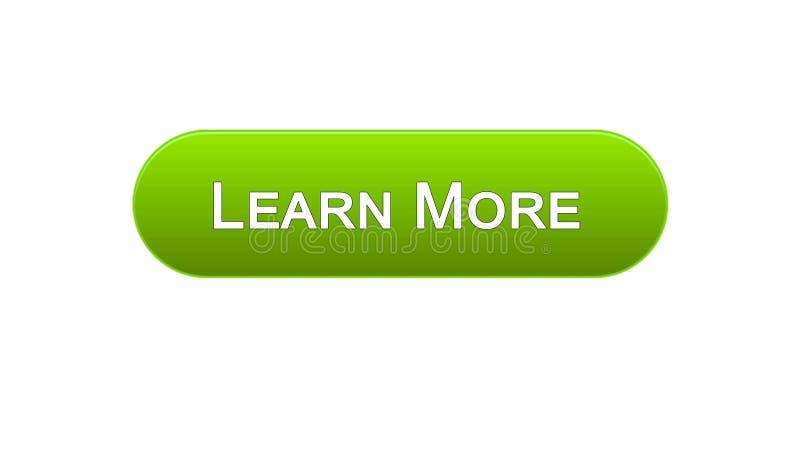 Uczy się więcej sieć interfejsu guzika zielonego kolor, edukacja online program, webinar ilustracja wektor