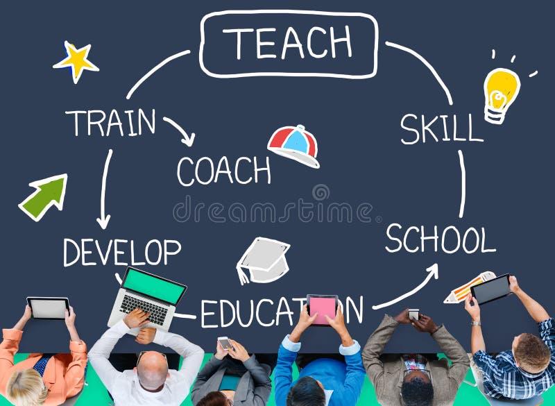 Uczy umiejętności edukaci trenerowi Stażowego pojęcie ilustracji