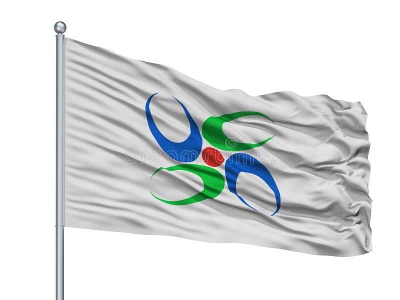 Uda City Flag On Flagpole, Japon, Nara Prefecture, d'isolement sur le fond blanc illustration libre de droits