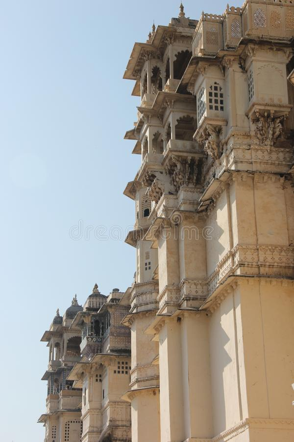 The Udaipur city palace fort in Rajasthan stock images