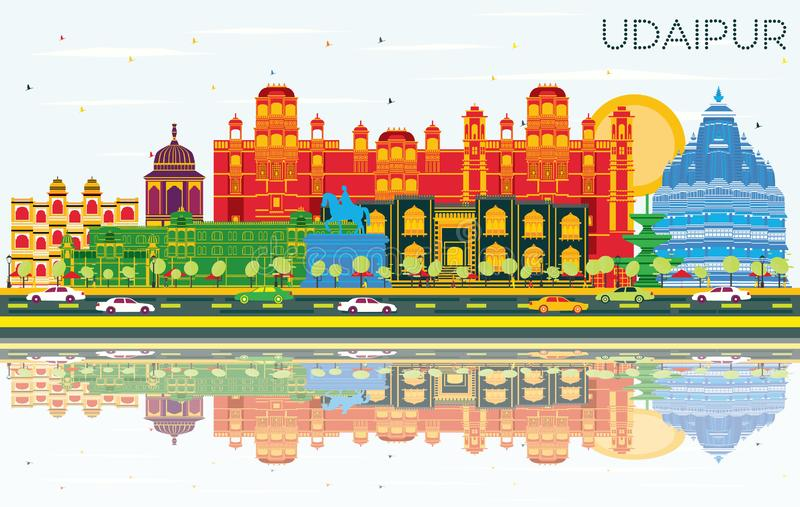 Udaipur India City Skyline with Color Buildings, Blue Sky and Re. Flections. Vector Illustration. Business Travel and Tourism Concept with Historic Architecture vector illustration