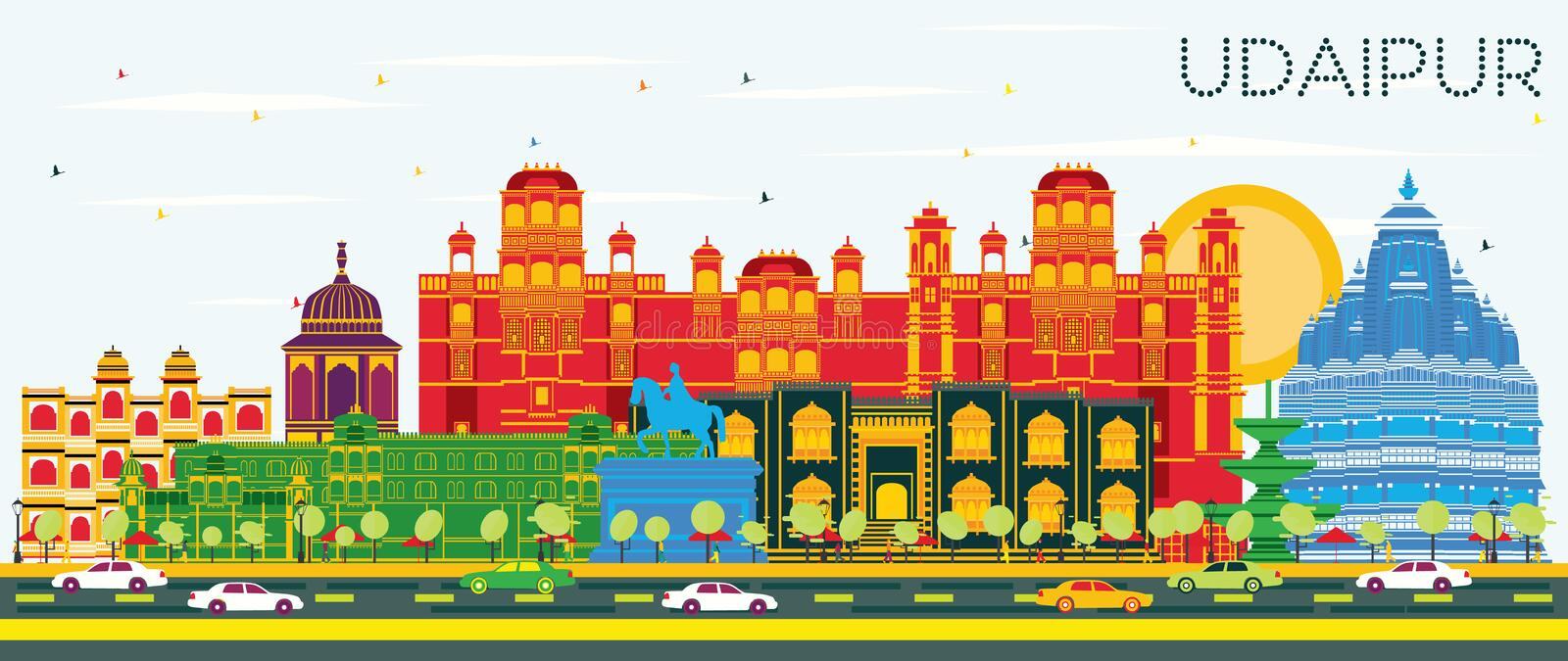 Udaipur India City Skyline with Color Buildings and Blue Sky. Vector Illustration. Business Travel and Tourism Concept with Historic Architecture. Udaipur stock illustration