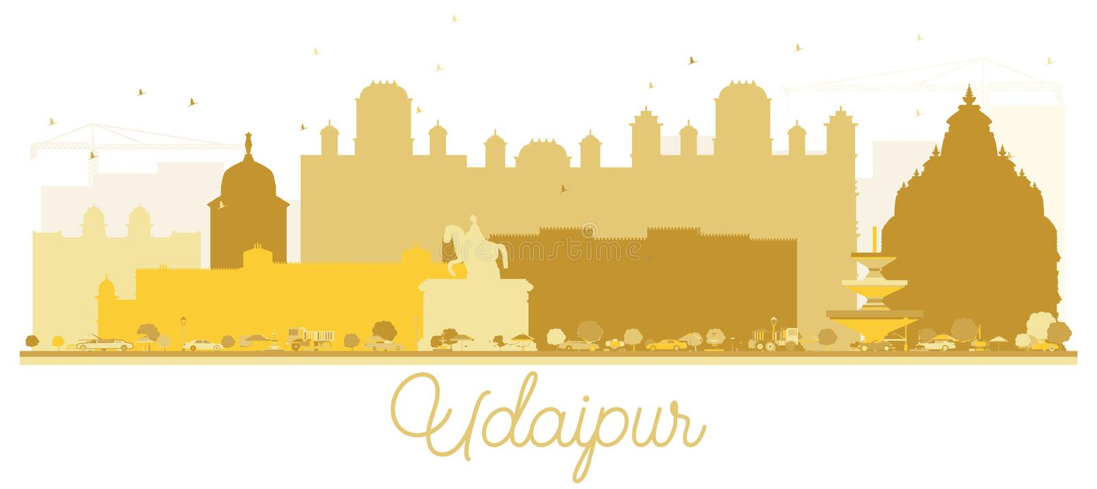 Udaipur India City skyline Golden silhouette. Vector illustration. Simple flat concept for tourism presentation, banner, placard or web site. Udaipur Cityscape vector illustration