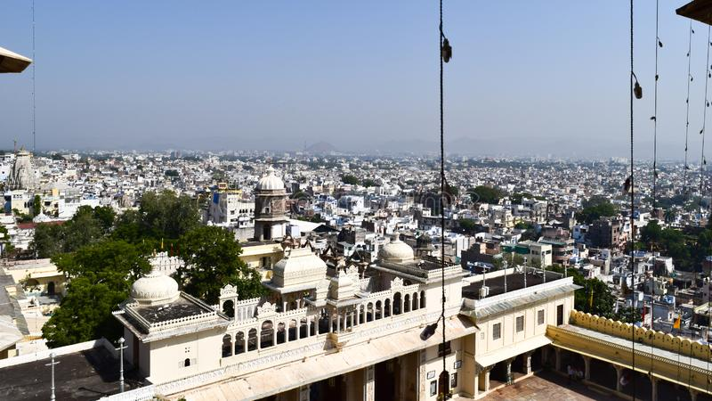 Udaipur, Rajasthan, India May 2019 - The beautiful panoramic landscape Aerial view of Udaipur City skyline. Lots of buildings can royalty free stock images