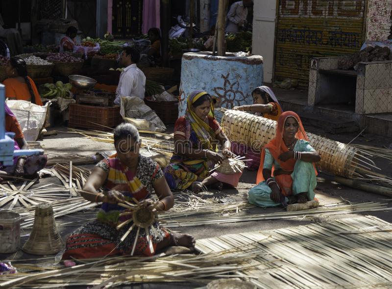 Colourful Basket Weavers at Work royalty free stock photography
