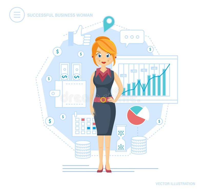 udana biznesowej kobieta Urzędnik, ufny, kobieta Fachowy pracownik, przedsiębiorca, lider ilustracja wektor