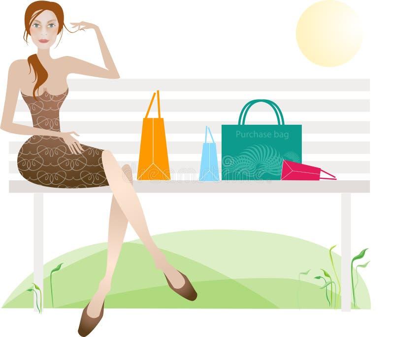 udany dzień na zakupy. ilustracji