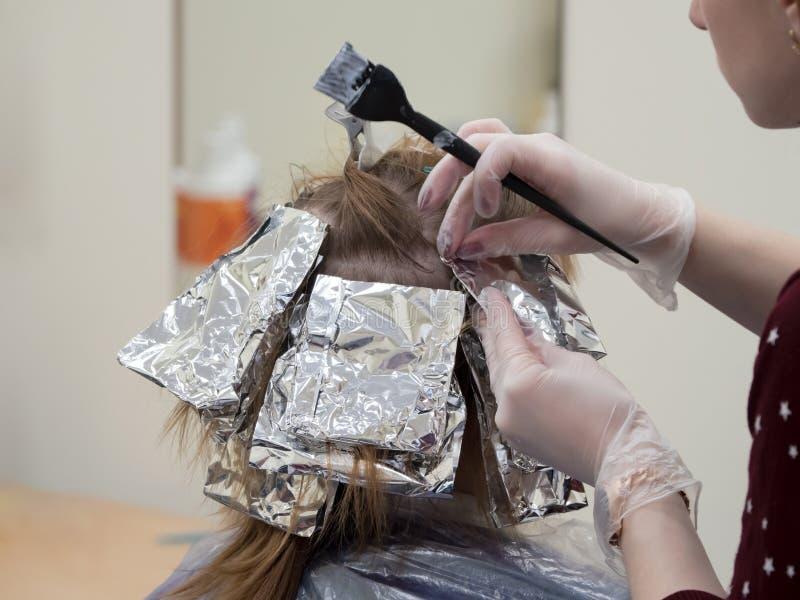 Udaremnia na włosy gdy barwiący włosy fotografia royalty free