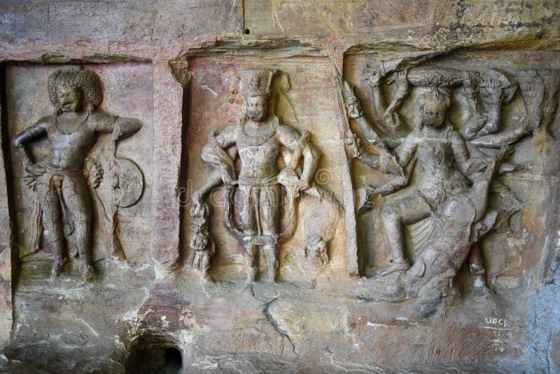 Udayagiri grottor, Vidisha, Madhya Pradesh royaltyfri bild