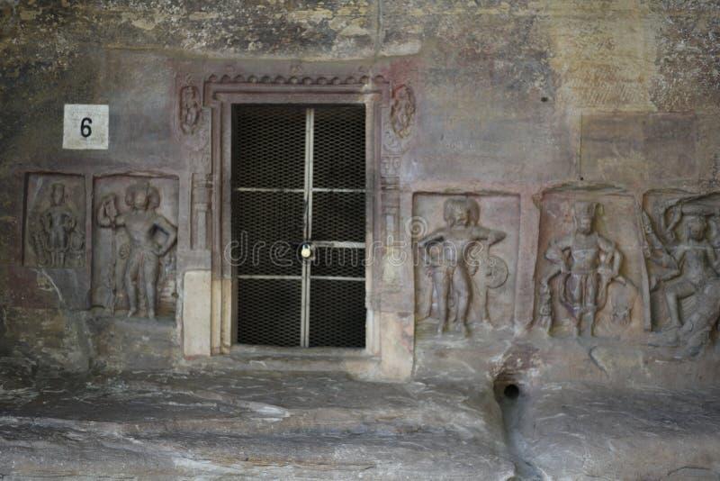 Udayagiri grottor, Vidisha, Madhya Pradesh arkivfoton